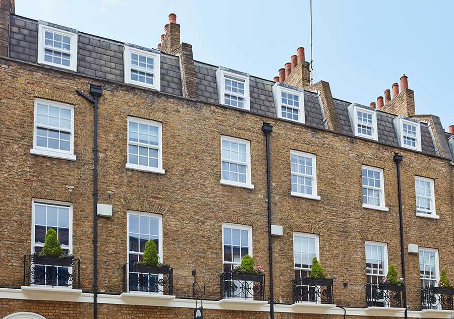 Row of terrace houses with new flush sash windows